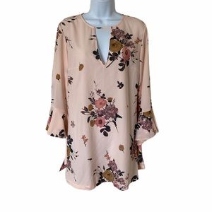 Leith Floral Spiral Sleeve Shift Dress S